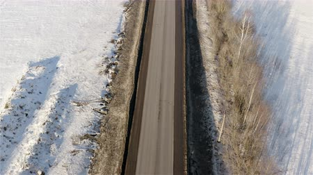 ártico : Top view of the highway in winter.
