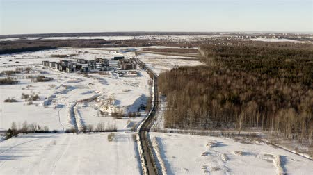 Top view of the village in winter.