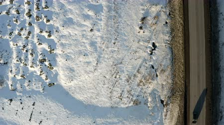 Top view of the snowbound field.