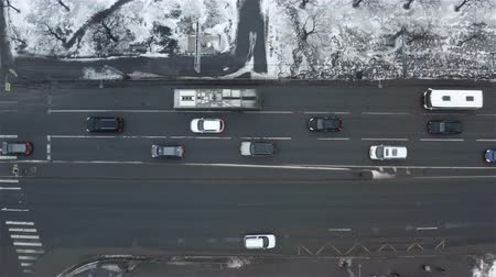 Accelerated aerial survey of traffic on the city highway. Stock mozgókép