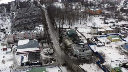 small provincial town in the icy winter. Aerial photography. Stock mozgókép