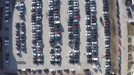 parked cars in the parking lot on a sunny spring day.