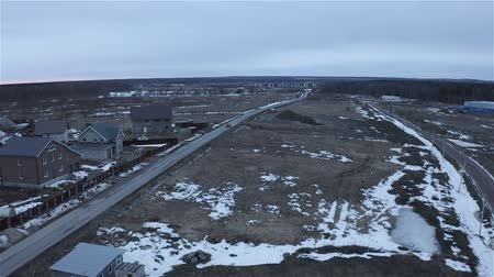 panorama of free snowy land for residential construction. Wideo