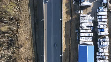 kijárat : On the ring road passing cars. The view from the top. Accelerated filming.