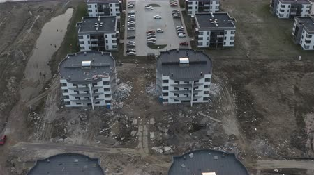 estate agency : aerial survey of the construction of a new residential quarter. Suburban construction.