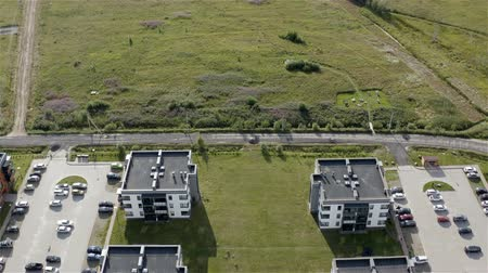 unfinished : new residential complex located near green fields. Stock Footage