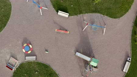 sandpit : slides swings and sandpit in the playground. Aerial photography.