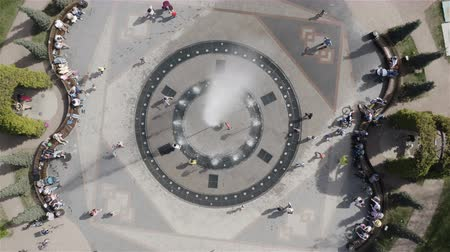 water feature : the fountain spurts cold water up in hot weather. Aerial photography. Stock Footage