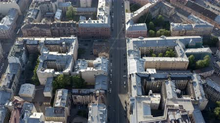st petersburg : densely populated urban residential quarter with ancient house architecture. Aerial photography.