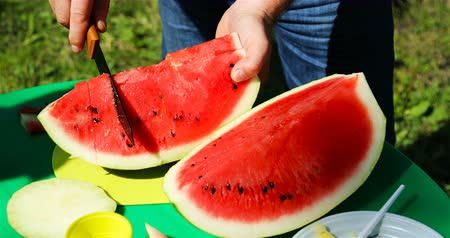 melão : a man cuts a watermelon into pieces with a knife.