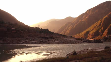 suyolu : Sunrise in Besham with a view of mountains and flowing Indus river. Khyber-Pakhtunkhwa. Pakistan.