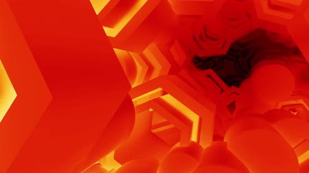 ironworks : Red Geometry flying in sci-fi pipeline tunnel,Space Station science technology.