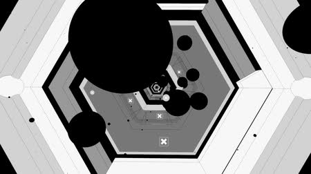 boru hattı : Black & white Abstract cartoon geometric flying in sci-fi pipeline tunnel. Stok Video