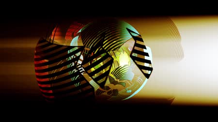 geometric : sci-fi ribbon surround metal tech digital ball & float circle.mesh,panel, Stock Footage