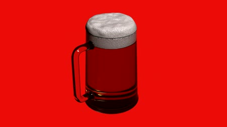 cin cin : Rotazione di beer.alcohol,drink,glass,cold,lager,beverage,foam,froth,pub,liquid,bar 3D, Filmati Stock