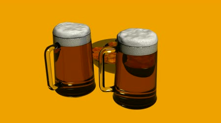 еда и питье : Rotation of 3D beer and Potato chips.alcohol,drink,lager,gold,froth,beverage,liquid,bar,foam,pub,
