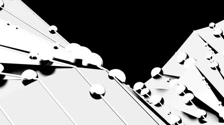 boncuklar : undulate sharp waves & string of beads,computer tech background,Black & white.  Stok Video