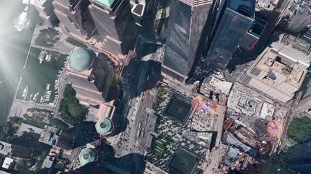 imparatorluk : aerial view of New york & sunlight,satellite navigation,spectacular city landscape. Stok Video