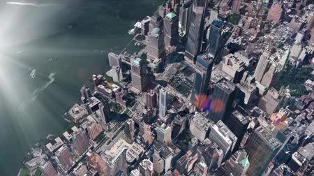nyc : aerial view of New york & sunlight,spectacular city landscape.