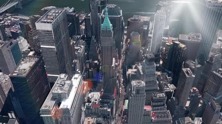 skyscraper : aerial view of New york & sunlight,spectacular city landscape.