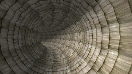 wooden path : flying in wood brick tile tunnel hole. Stock Footage
