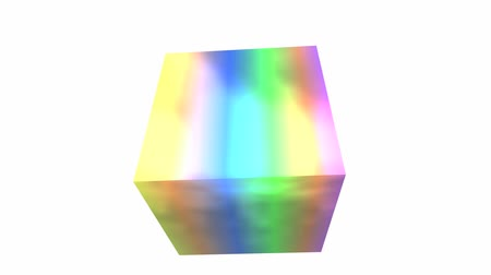 rotation rainbow colors cube, tech web virtual background.