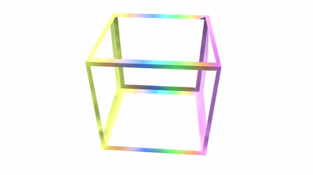 cubos : rotation rainbow colors cube frame,tech web virtual background.