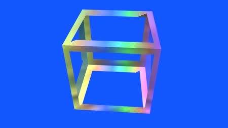 estruturas : rotation rainbow colors cube frame,tech web virtual background.