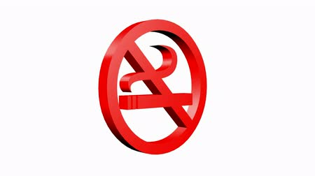 interdiction : Rotation of 3D No Smoking.cigarette,forbidden,symbol,sign,stop,warning,hazard,health,icon,tobacco,addiction,