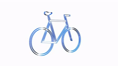 cycle : Rotation of 3D bicycle.Transportation,traffic,sports,fitness,Tour-de-France,wheel,sport,pedal,Grid,mesh,sketch, Stock Footage