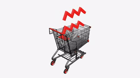 bearish : Shopping Cart and trends.retail,buy,cart,shop,basket,sale,customer,supermarket,market, Stock Footage