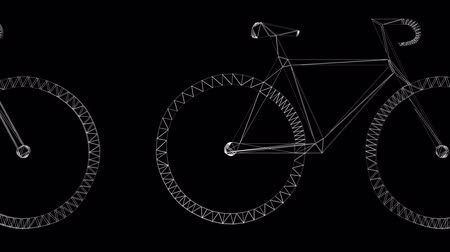 cycle : Rotation of 3D bicycle.Transportation,traffic,sports,fitness,Tour-de-France,wheel,sport,pedal,Grid,mesh,sketch,structure,