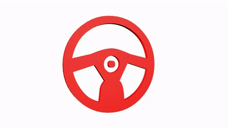 gearstick : Rotation of 3D Steering wheel.drive,vehicle,control,transportation,auto,round,stock,car, Stock Footage