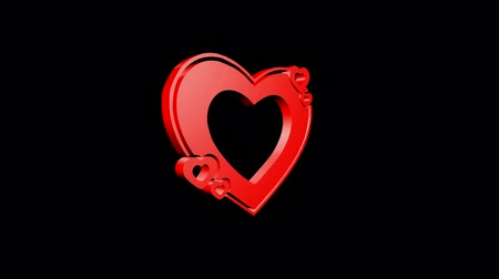 trait : Rotation of 3D heart.love,red,symbol,heart,valentine,romance,illustration,holiday, Stock Footage