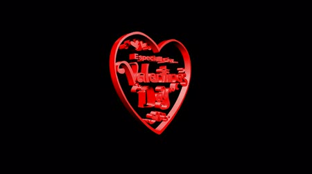 uitnodiging verjaardag : Rotatie van 3D Valentijnsdag heart.love,red,symbol,heart,valentine,romance,illustration,holiday,