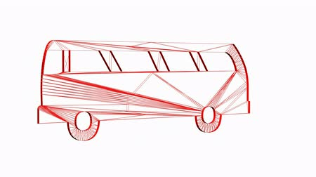 Rotation de 3D Van bus.car,transportation,bus,vehicle,coach,transport,passenger,public,Grid,mesh,sketch,structure,