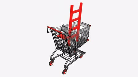 carrello : Carrello con Ladder.retail,buy,cart,shop,basket,sale,supermarket,market, Filmati Stock
