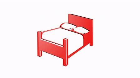 мебель : Rotation of 3D bed.interior,design,furniture,room,bedroom,home,comfort,pillow,apartment, Стоковые видеозаписи