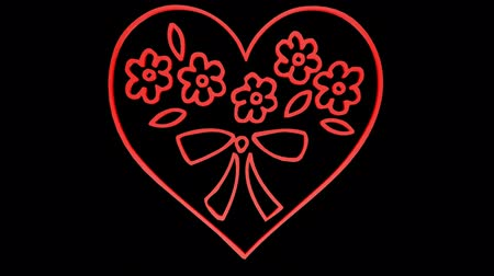 trait : Rotation of Flower heart.love,red,symbol,heart,valentine,romance,illustration,holiday, Stock Footage