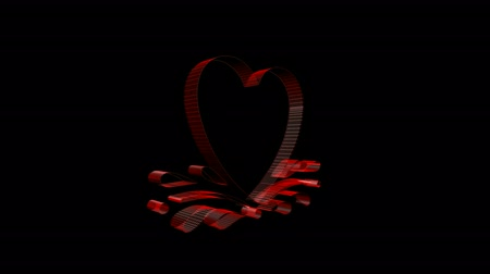 trait : Rotation of 3D heart.Grid,mesh,love,red,symbol,heart,valentine,romance,illustration,holiday,