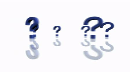 kérdések : Rotation of 3D Question mark.isolated,mark,3d,illustration,abstract,problem,think,faq,answer, Stock mozgókép