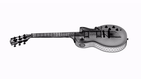 ミュージカル : 3 D の電気 Guitar.music,musical,instrument,string,rock,electric,art,sound,acoustic,Grid,mesh,sketch,structure の回転