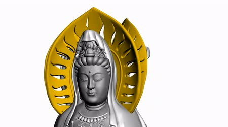 Rotation de Sculpture.religion,statue,goddess,female,pray,culture,chinese,china,belief,asia 3D Bouddha Guanyin, Vidéos Libres De Droits