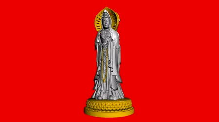 sculture : Rotazione di Sculpture.religion,statue,goddess,female,pray,culture,chinese,china,belief,asia 3D Guanyin Buddha, Filmati Stock