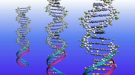 genoma : Rotación de DNA.medicine,biology,science,research,medical,helix,biotechnology,molecule,molecular 3D, Archivo de Video