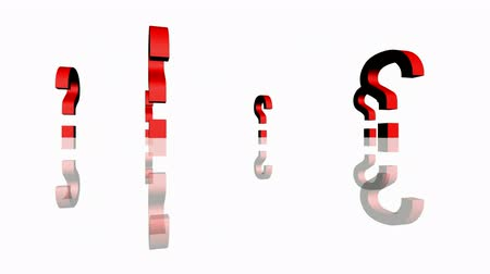 noktalama : Rotation of 3D Question mark.isolated,mark,3d,illustration,abstract,problem,think,faq,answer, Stok Video