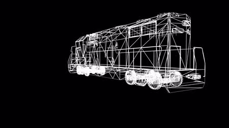 Rotation de Train.locomotive,railroad,train,transportation,travel,passenger,Grid,mesh,sketch,structure 3D, Vidéos Libres De Droits