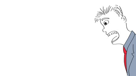 médio : Sketch style drawing animation of angry boss shouting at employee