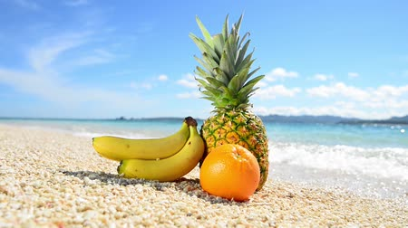 kumlu : Exotic tropical fruit on the sandy beach
