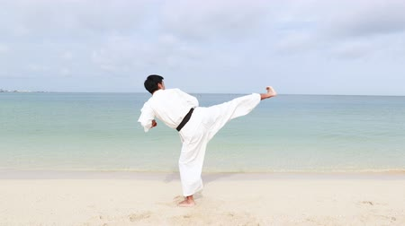 yazlık : Young adult man with black belt practicing a Kata on the beach on a sunny day.